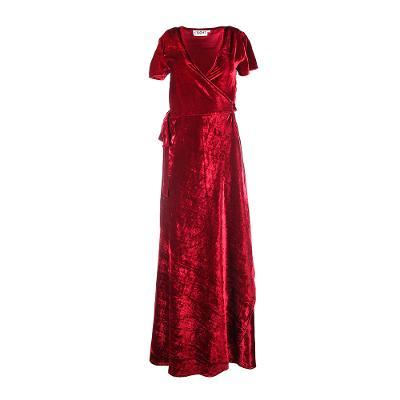 velvet long wrap dress burgundy